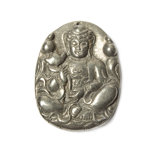52x40x7mm Pyrite Carved Sitting Goddess focal Pendant 1 piece