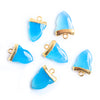 18x13mm Gold Leafed Royal Blue Chalcedony Shark Tooth Pendant 1 piece