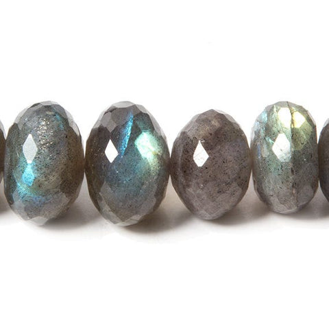 8-10mm Labradorite faceted rondelle 16 inch 97 beads