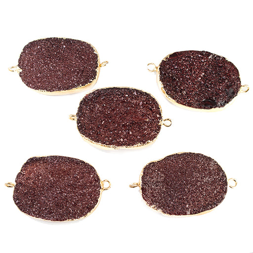 22x30mm Gold Leafed Berry Purple Drusy Oval Connector Focal 1 bead