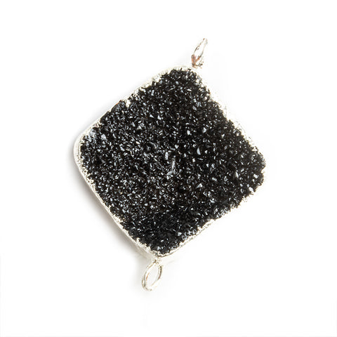 18mm Silver Leafed Black Drusy Square Corner Connector 1 bead