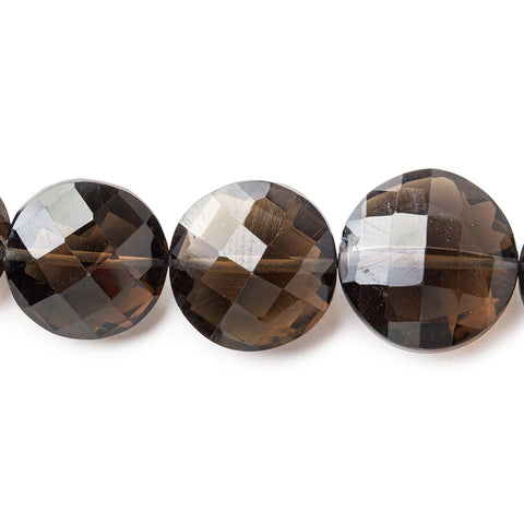 "Smoky Quartz Beads Faceted 11-15mm Coins, 8"" length, 14 pcs"