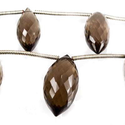 Smoky Quartz Faceted 11-16mm Top Drilled Puffy Marquise