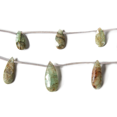 11x6-18x8mm Organic Green Kyanite Faceted Pear 13 inch 15 Beads Set of 2