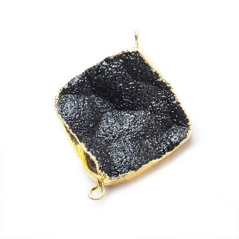 22mm Gold Leafed Black Drusy Square Corner Connector 1 bead
