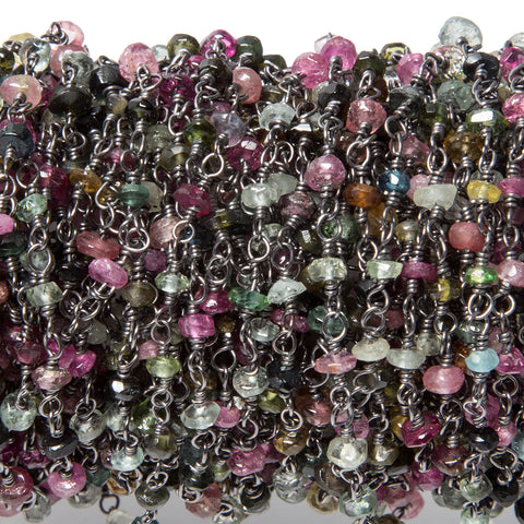 Superior quality 3.5-4mm Tourmaline faceted rondelles Black Gold plated Chain by the foot - Buy From The Bead Traders Online Store.