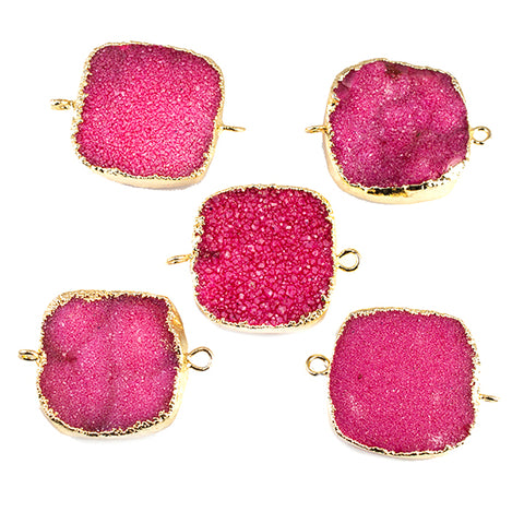 22mm Gold Leafed Hot Pink Drusy Square Connector Focal 1 bead