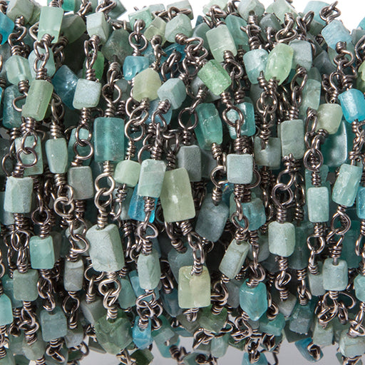 4x2mm MultiColor Apatite plain rectangle Black Gold Chain by the foot
