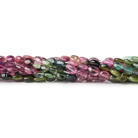 4x3-5x4mm Multi-color Tourmaline Straight Drilled Plain Ovals 13 inch 65 beads