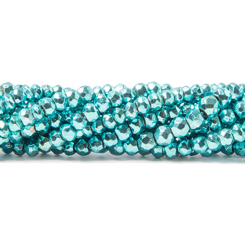 3.5-4mm Metallic Aqua Blue plated Black Spinel faceted rondelle Beads 124 pcs
