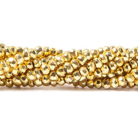 3.5-4mm Metallic Gold plated Pyrite faceted rondelle Beads 128 pcs