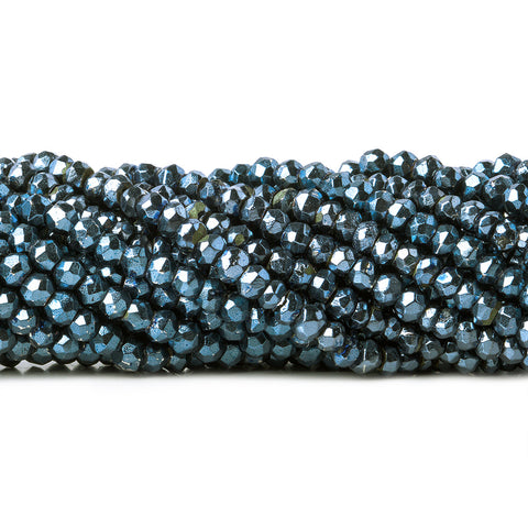 3.5-4mm Metallic Cadet Blue plated Pyrite faceted rondelle Beads 104 pcs