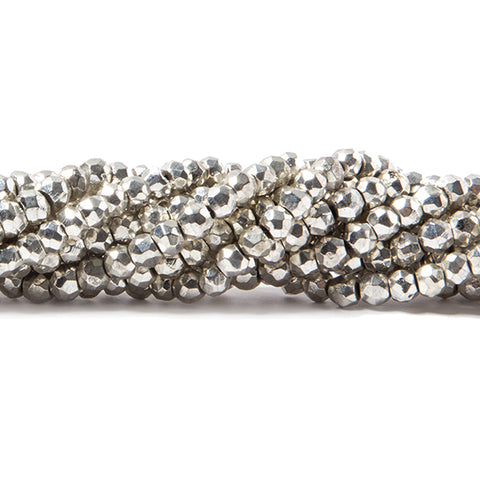 3.5-4mm Metallic Silver plated Pyrite faceted rondelle Beads 104 pcs
