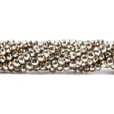 3.5-4mm Metallic Champagne plated Pyrite faceted rondelle Beads 103 pcs