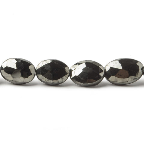 10x8-12x8mm Metallic Black Spinel faceted oval beads 8 inch 18 pieces