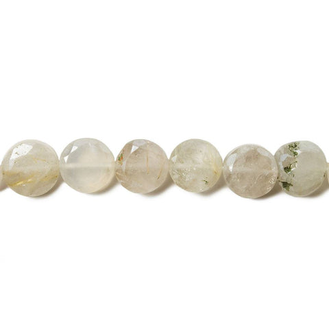 6-6.8mm Mystic Rutilated Quartz & Moonstone faceted coins 12.5 inch 48 Beads