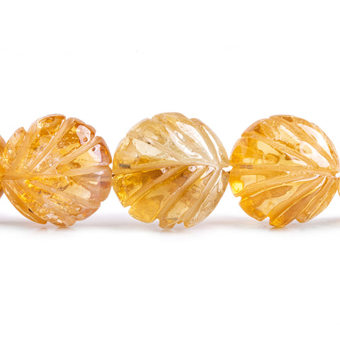 14mm Citrine Carved Faceted Coin Beads 8.5 inch 16 pieces