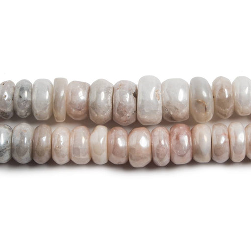 8-8.5mm Silver Mystic Moonstone plain rondelle beads 8 inch 52 pieces