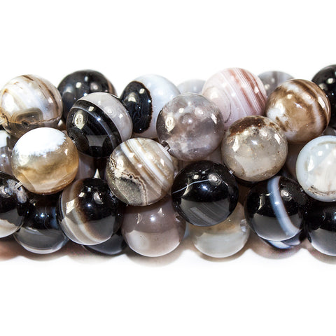 10mm Tri-Color Banded Agate polished round Beads 15 inch 40 pieces