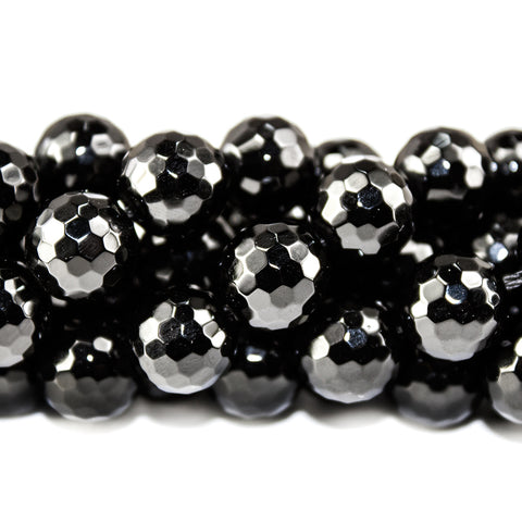 10mm Black Onyx faceted round Beads 15 inch 39 pieces