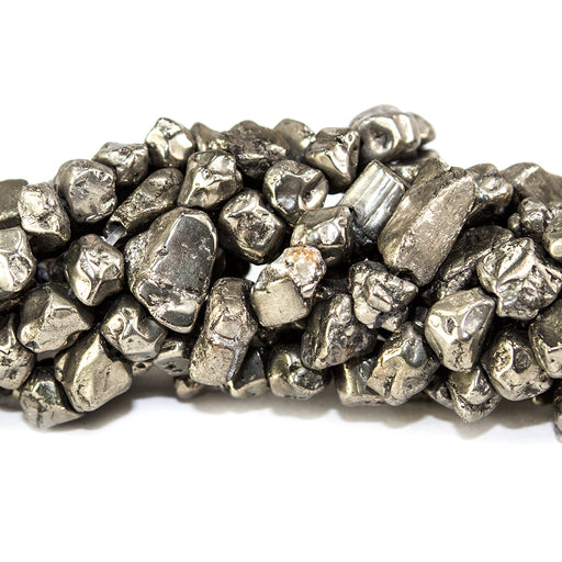 5.5x3.5-7x6.8mm Golden Pyrite tumbled Nugget Beads 13 inch 67 pieces