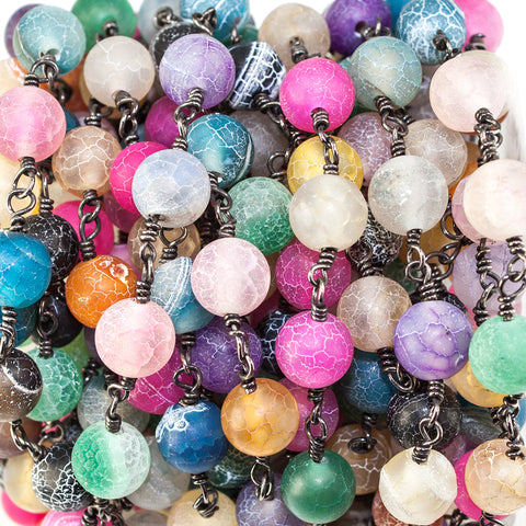 8mm Rainbow Agate plain round Black Gold Chain sold by the foot