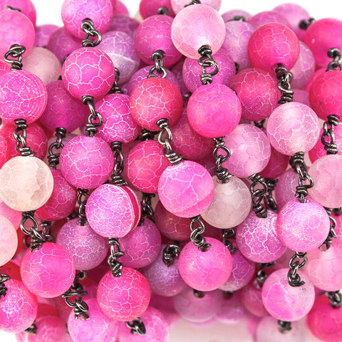 8mm Hot Pink Chalcedony plarin round Black Gold Chain sold by the foot