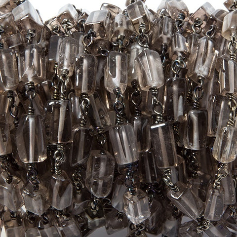 8x4mm Smoky Quartz plain rectangle Black Gold Chain sold by the foot