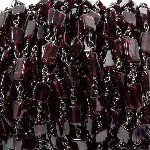 8x4.5mm Red Garnet plain rectangle Black Gold Chain sold by the foot