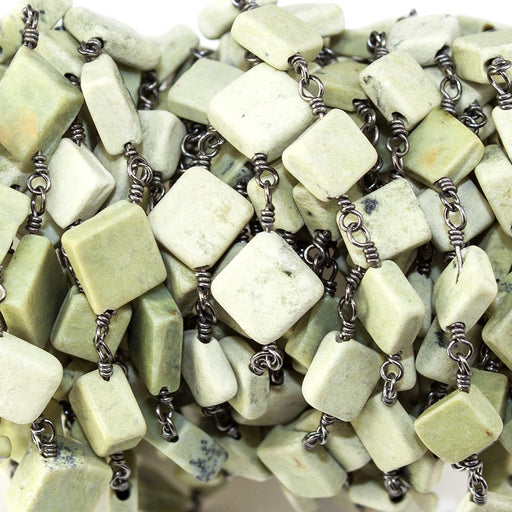 6.5-8mm Lemon Chrysoprase plain square Black Gold Chain sold by the foot