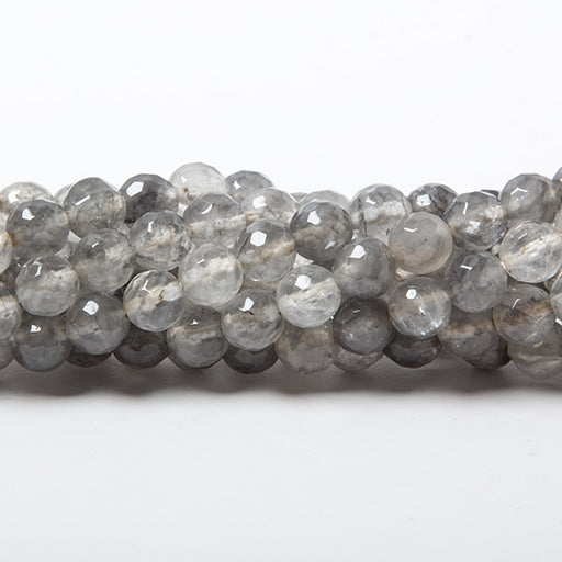 6mm Silver Quartz faceted round beads 15 inch 61 pieces