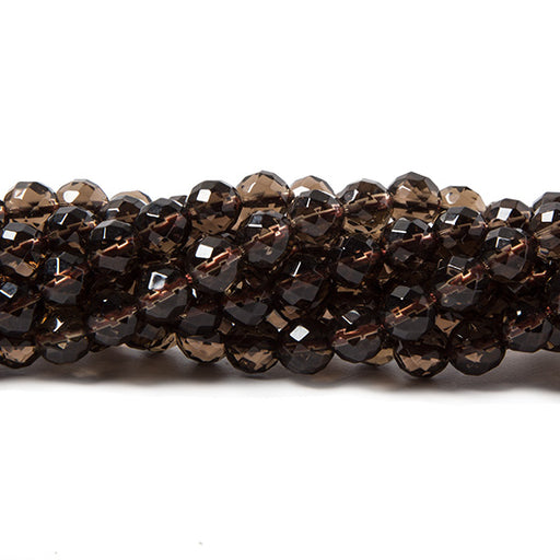6mm Smoky Quartz faceted round beads 15.5 inch 63 pieces Lab Created