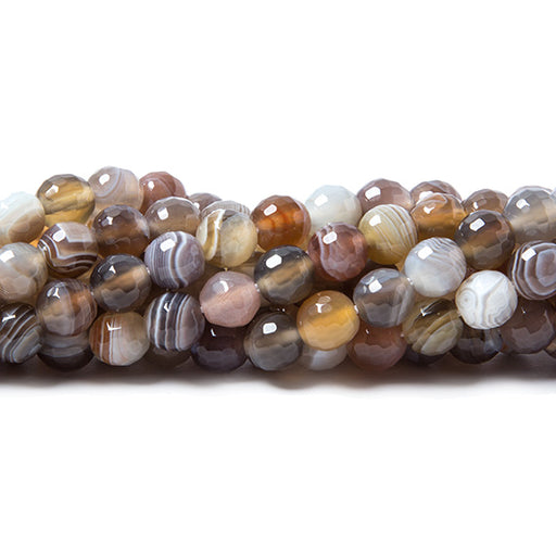 6mm Botswana Banded Agate faceted round beads 15.5 inch 67 pieces AAA