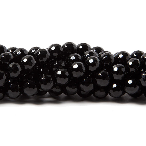 6mm Black Onyx faceted round beads 15.5 inch 66 pieces