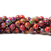 8mm Festive Banded Synthetic Gemstone plain round beads 15 inch 50 pieces