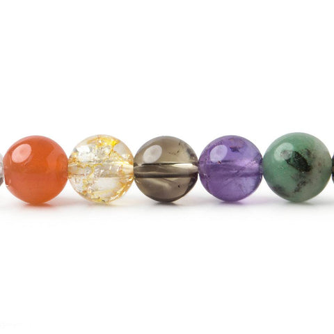 8mm Mixed Gemstone plain round beads 15 inch 50 pieces