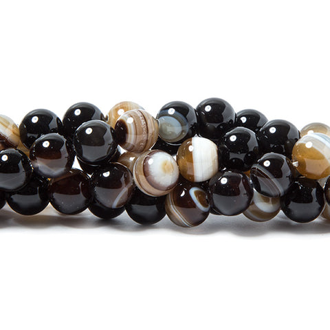 8mm TriColor Banded Agate plain round beads 15 inch 50 pieces