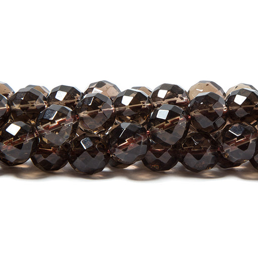 8mm Smoky Quartz faceted round beads 15 inch 50 pieces Lab Created