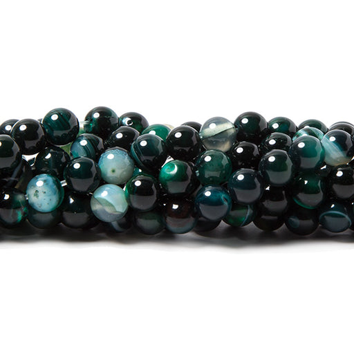 6mm Forest Green Banded Agate plain round beads 15 inch 60 pieces
