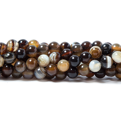 6mm Brown Banded Agate plain round beads 15 inch 60 pieces