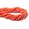 6mm Orange Coral plain round beads 15 inch 60 pieces
