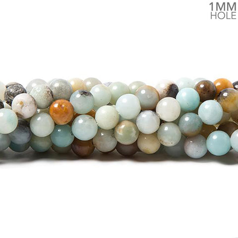 6mm Multi Color Amazonite plain round beads 15 inch 60 pieces
