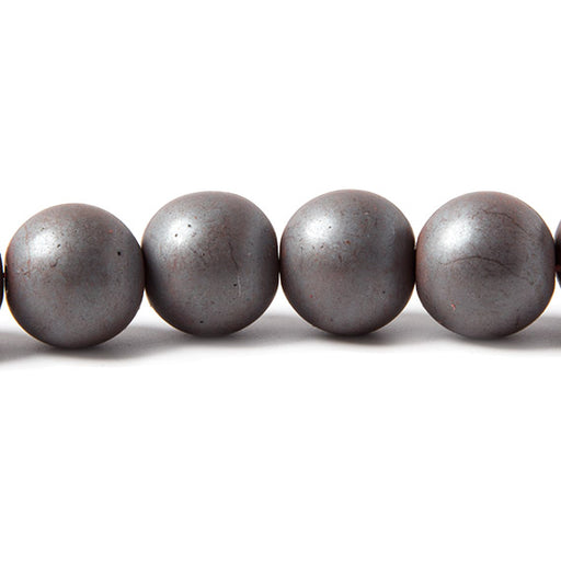 12mm Matte Hematite plain round Beads 15 inch 35 pieces