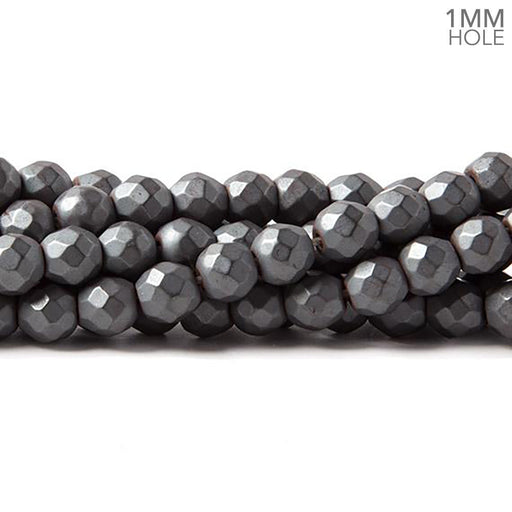 6mm Matte Hematite faceted round beads 15.5 inch 73 pieces