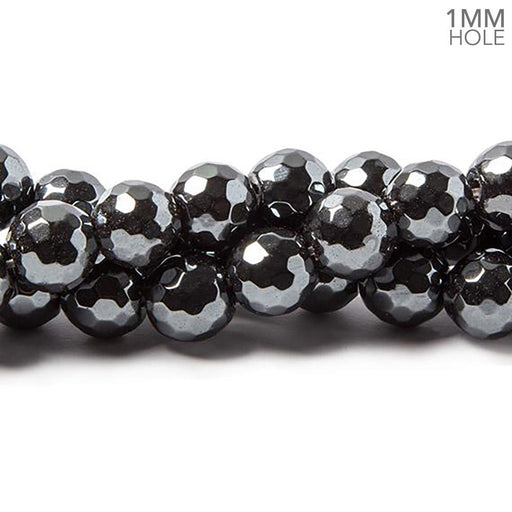10mm Hematite faceted rounds 14.5 inches 45 pieces