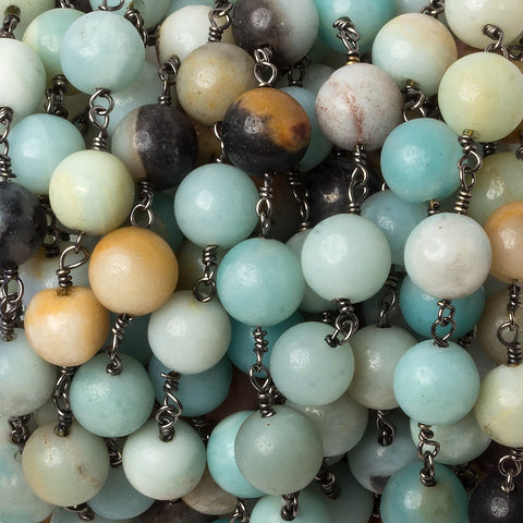 8mm Amazonite plain round Black Gold plated Chain by the foot 22 beads