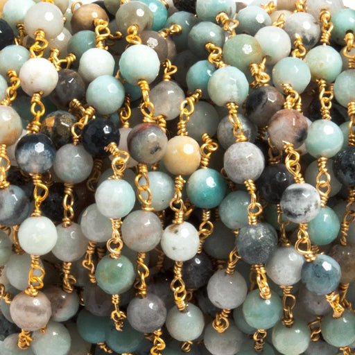 6mm Amazonite faceted round Gold plated Chain by the foot 25 beads