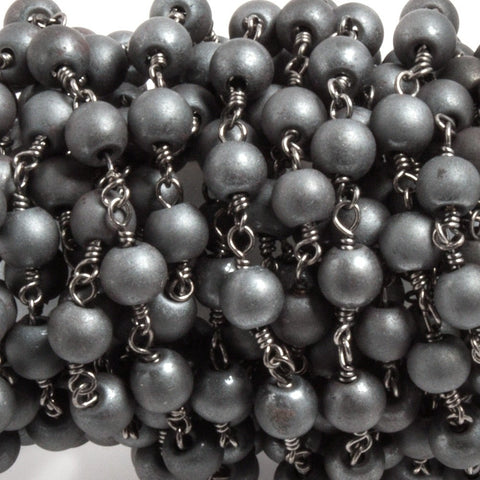 6mm Matte Hematite plain round Black Gold plated Chain by the foot 25 beads