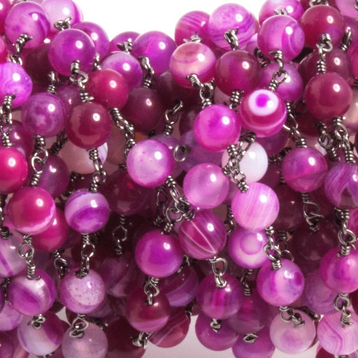 6mm Hot Pink Banded Agate round Black Gold Chain by the foot 25 beads