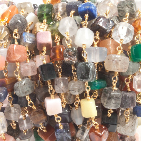 5mm Multiple Gemstone plain cubes Gold Filled Chain by the foot 26 beads